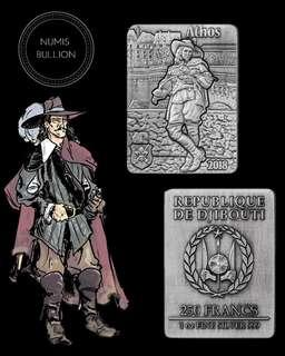 ATHOS Three Musketeers Set 4 x 1 Oz Silver Coins