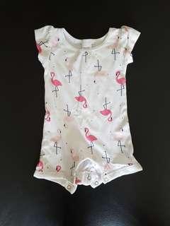 Baby Girl One Piece romper Flamingo Bird print