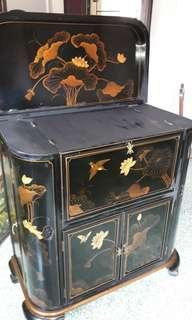 ANTIQUE-BLACK LAQURED-CHOINERERIE-COCTAIL -BAR CABINET CLAW FOOT- FRENCH -