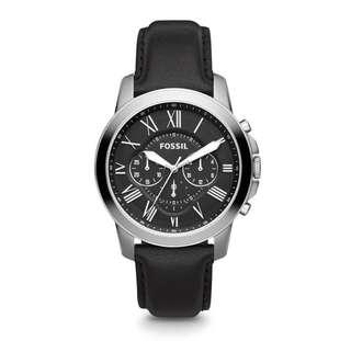 🚚 Fossil Men's Grant Chronograph black leather Watch