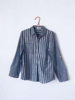 Blue and White Striped Long Collar Top/ Shirt