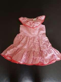 BNWT Seed Heritage Red & White Stripe Baby Girl dress