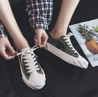 🚚 Bidibi 正版 格子餅乾鞋 全新黃綠色款 帆布鞋