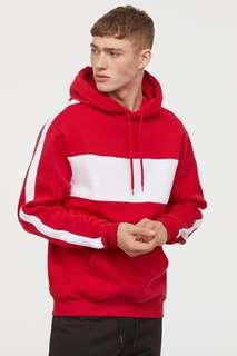 h&m red & white colourbock hoodie