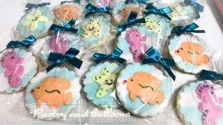 Butter cookies sea underwater marine life fishes mermaid Ariel theme