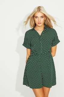 Polka Dot Collar Shirt Dress
