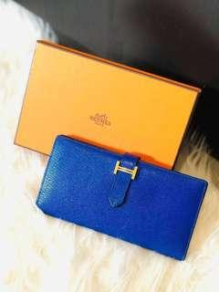 Hermes Béarn Wallet - Rare GHW Electric Blue !