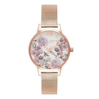 Olivia Burton Enchanted Garden Rose Gold Mesh Watch