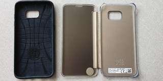 Samsung Galaxy S7 Edge Original Clear View and Spigen Case