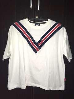 Korean White Oversized Shirt (V-neck Stripes)