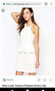 White Textured Peplum Dress