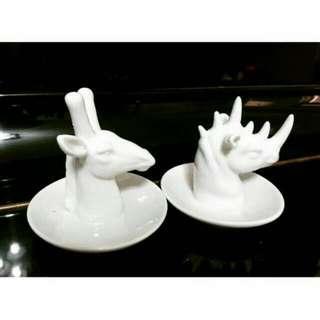 🚚 生活工廠 長頸鹿 犀牛 首飾陶瓷擺飾