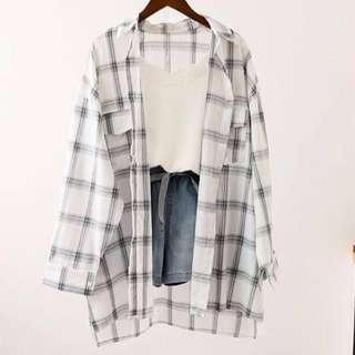 ! Reduced! Oversized plaid shirt - white