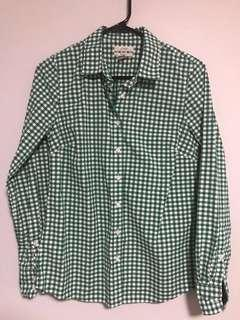 J-Crew classic-fit shirt in green (checkered blouse)