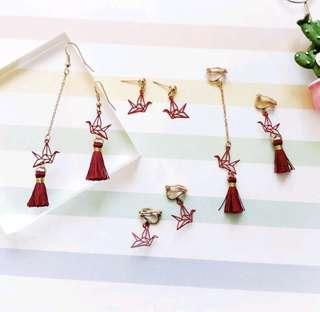 Origami Crane Ulzzang earring po