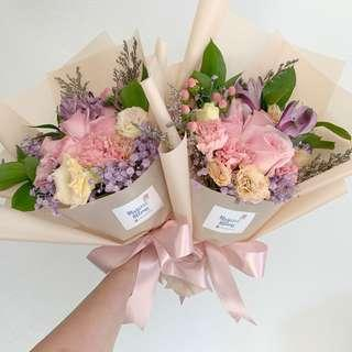 Pastel Pink Rose Bouquet with Mix Fillers