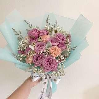 Pastel Bouquet in Purple Roses Tiffany Blue Baby Breath