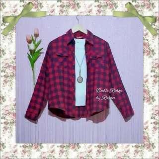 Atasan kemeja tartan flanel kotak kotakl pink fushia hitam baju kemeja blouse atasan top wanita preloved  second bekas berkualitas