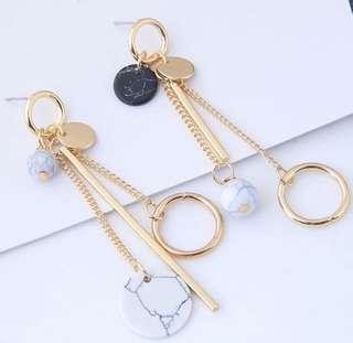 🚚 Minimalistic tassel earring marble PO