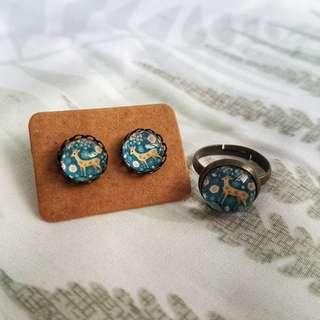 🚚 Vintage Deer Ring and Earrings Set