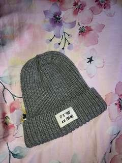 Grey beanie with wording