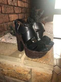 Black cork platform heels