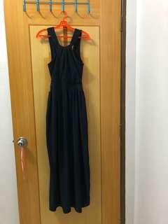Navy blue Long and simple dress