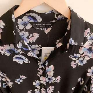 Dorothy Perkins black floral shirt dress