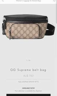 Authentic Gucci supreme belt bag