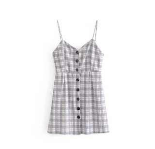 Grid Dress Romper