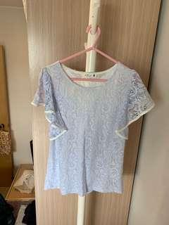 (99% new) Made in Korea 🇰🇷 少女系紫藍色Lace Ruffle袖上衣 💙💜