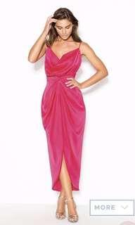 SHEIKE pink satin draped dress