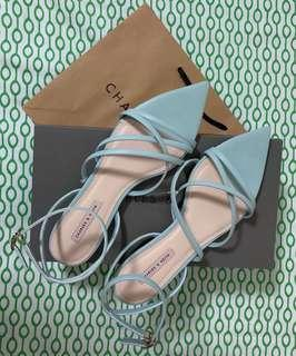 Charles and Keith Green Strap Pointed Sandals