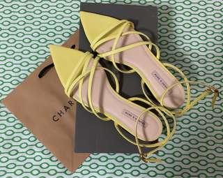 Charles and Keith Yellow Strap Pointed Sandals