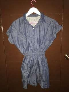 Denim Romper Jumpsuit Button Down by HTP