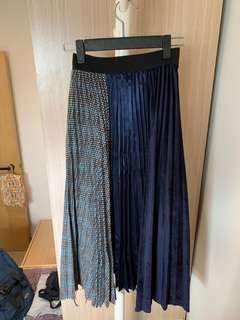 (99% new) 罕見拼布不規則裙腳橡筋腰半身裙 🉐