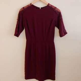 Dorothy Perkins maroon dress with lace sleeves