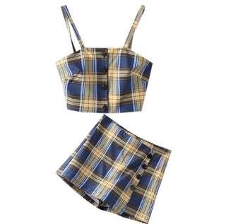 Checkered Skirt and top two piece Zaful inspired