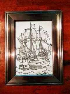 Hand-drawn Sketch of War Ship with Metallic Silver Frame
