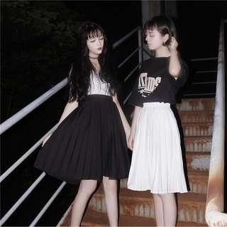 🚚 私物|日系復古學院風百搭寬鬆純色半身裙中長款高腰A字百褶裙