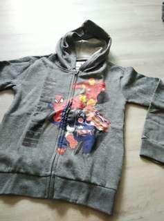 Marvel Kids Thin Fleece Jacket Spiderman Iron Man Captian America