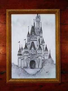 Majestic Castle Sketch with Wooden Frame