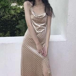 Polka Dot Cowl Neck Dress