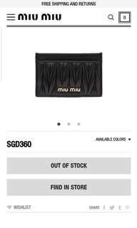 Miu Miu Matelasse Card Holder Bluette/Nero