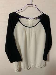 White Chiffon Top with Black Sleeve