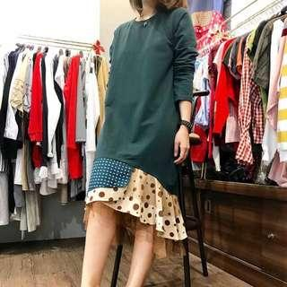 Dark green polkadot kombinasi ruffle dress - super cuteee dan langka modelnya!! Korean dress