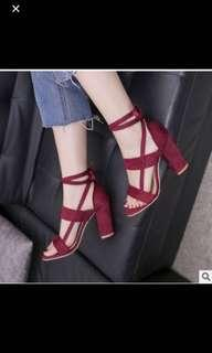 Red Bohemian Heels