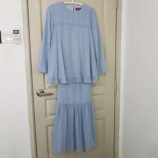 Poplook Shena Blouse & Skirt Set - Blue Fog   Modern Kurung   Size M   Mother Daughter Collection  