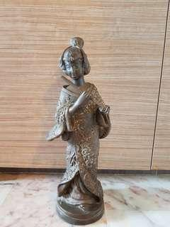 Rare Brass Statue for feng shui display Japanese Lady in kinomo playing flute