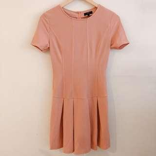 Zalora peach structured flare hem mini dress